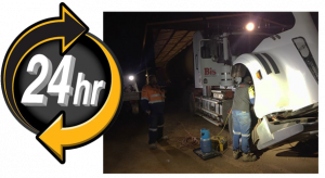 24 hour icon with vehicle recovery in progress